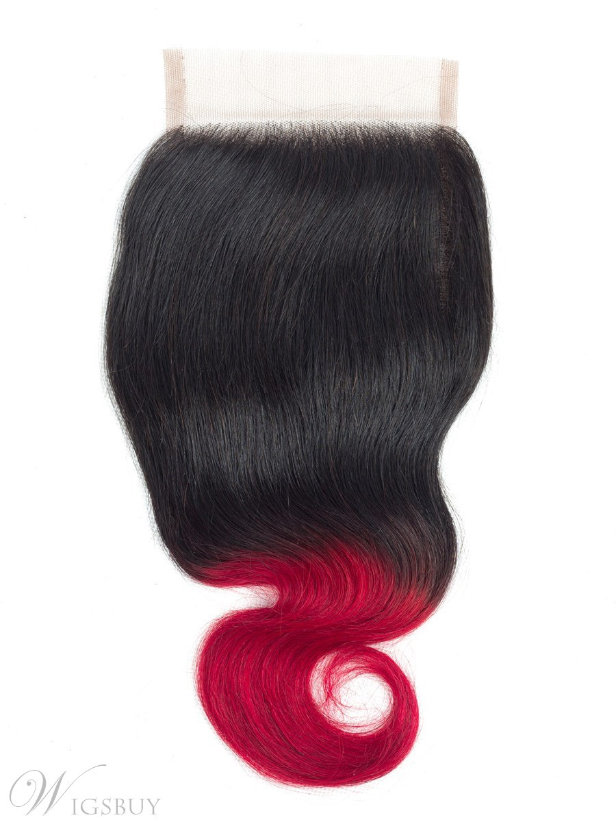 Wigsbuy Ombr Body Wave Swiss Lace 4*4 Closure T1B/Red