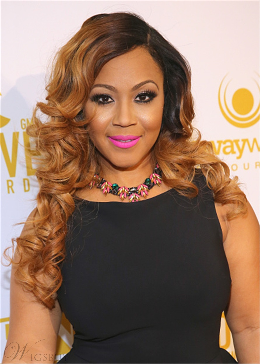 Erica Campbell Long Hairstyle Synthetic Hair Wavy Lace Front Cap Wig