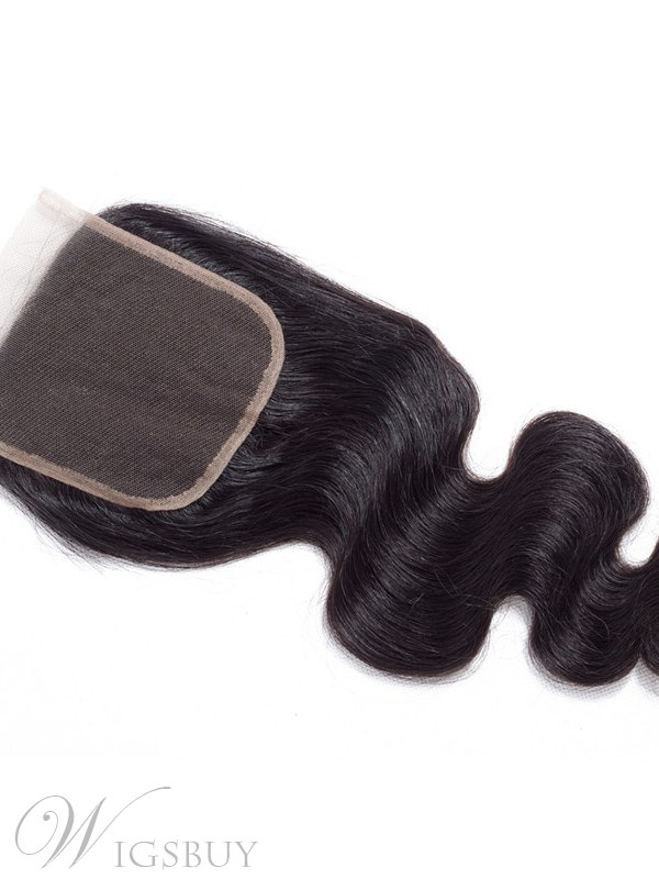 Wigsbuy Remy Human Hair Body Wave 4X4 Lace Closure Free Part 8-18 Inches