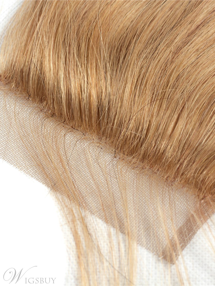 Wigsbuy Honey Blond #27 Straight Human Hair Color 4*4 Swiss Lace Closure