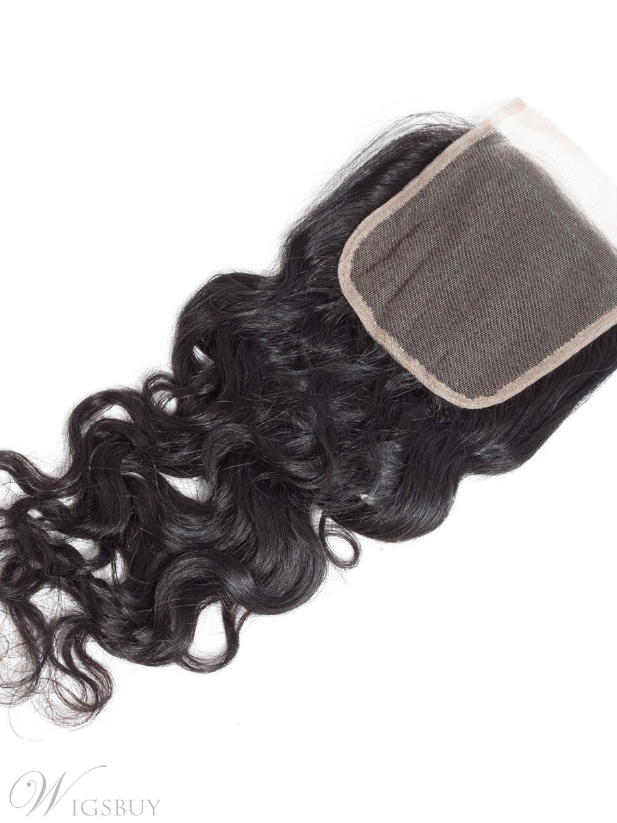 Wigsbuy Remy Hair Brazilian Water Wave Closure 4x4 Lace Closure With Baby Hair Free Part