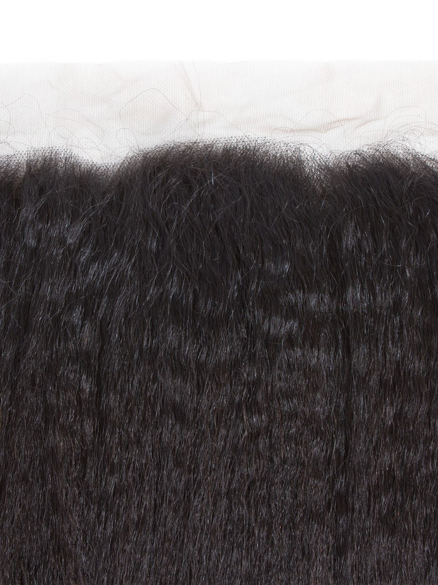 Wigsbuy Remy Kinky Straight Hair Lace Frontal Natural Hairline 13*4