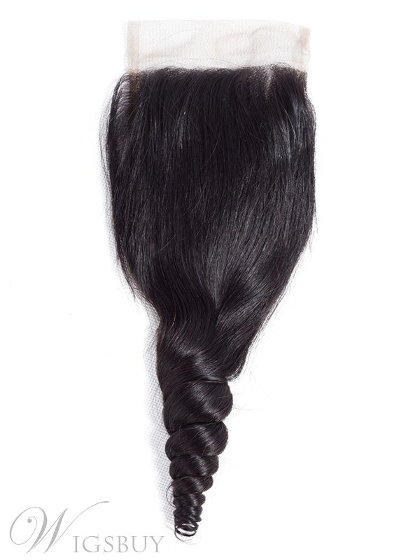 Wigsbuy Loose Wave Remy Human HairClosure Free Part 4x4 Lace Closure