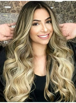 Mix Color Long Wavy Synthetic Hair Women Wig