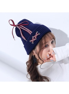 Pure Colour Riband Winter Women Hat