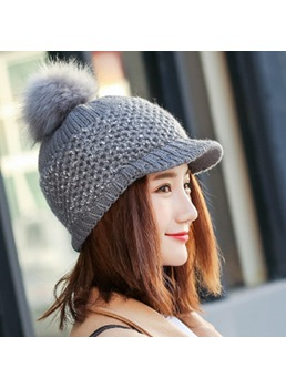 Winter Plush Shining Knit Baseball Cap
