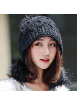 Knit Plush Twist Pure Colour Winter Hat