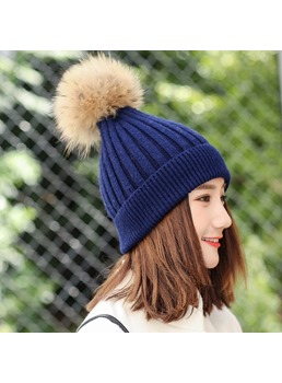 Knit Plush Pure Colour Winter Hats
