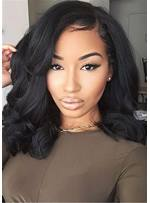 Natural Black One Side Part Big Wave Synthetic Hair Capless Cap Wigs 14 Inches