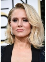 Kristen Bell Hair Type Lob One Side Part Wavy Synthetic Hair Lace Front Cap Wig
