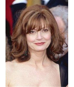Susan Sarandon Type Mix Color Human Hair With Bangs Women Wig