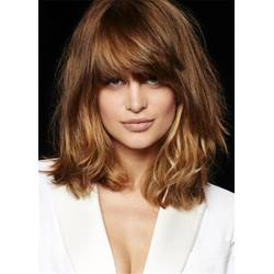 Fluffy Layered Medium Synthetic Hair Straight Bangs Capless Cap Wigs 14 Inches