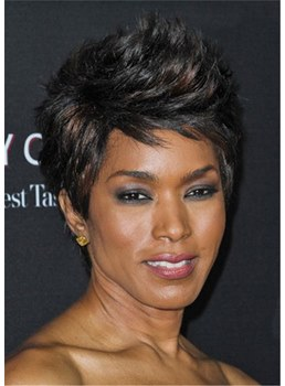 Angela Bassett Short Layered Side Part Bangs Pixie Synthetic Hair Capless Wig