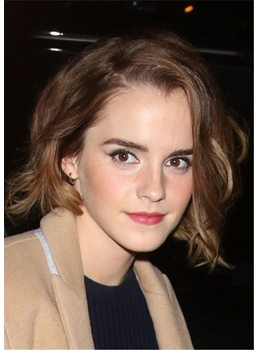 Emma Watson Lob Cut Wavy Synthetic Hair One Side Part Lace Front Cap Wigs 10 Inches