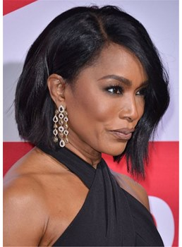 Angela Bassett Bob Hairstyle Layered Straight Synthetic Hair Capless Wig
