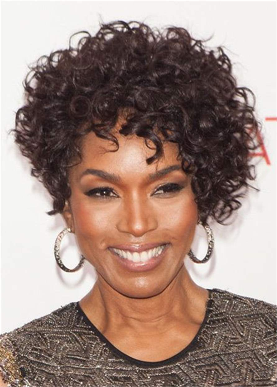 Angela Bassett Hairstyle Pixie Short Kinky Curly Human Hair African American Wig