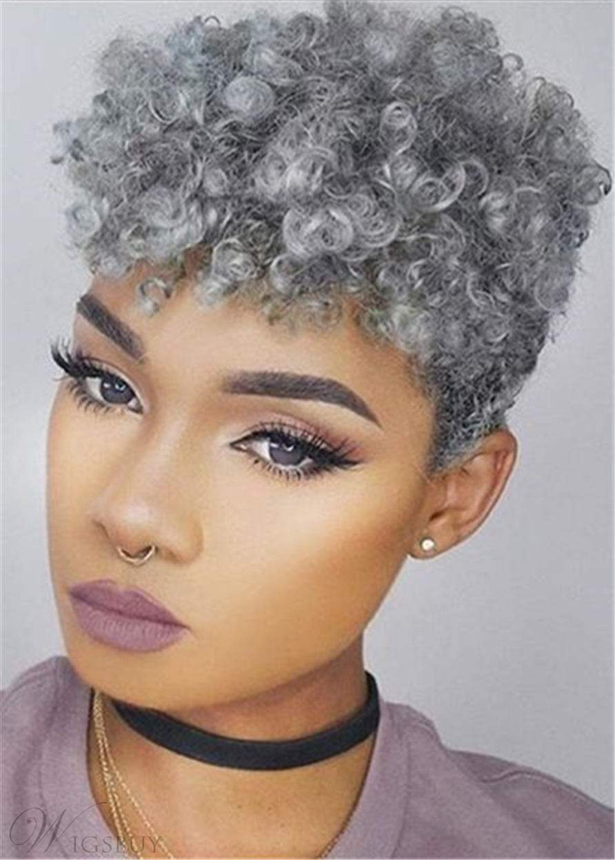Gray Pixie Afro Kinky Curly Short Human Hair Capless Cap Wigs