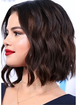 Selena Gomez Hairstyle Medium Bob Synthetic Hair Lace Front Wig
