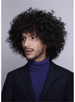 Mid Lenth Kinky Curly Synthetic Hair Men's Wig