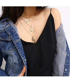 Cross Two Tone Necklaces