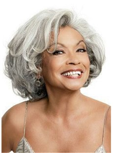 Salt and Pepper Hair Bob Style Wavy Synthetic Lace Front Cap Wig