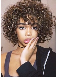 Medium Kinky Curly Synthetic Hair Women Wig