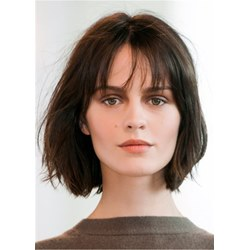 Bob Style Natural Straight Human Hair With Bangs Wig 14 Inches