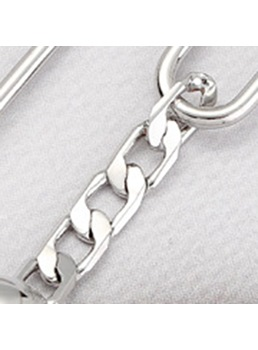 Chain Buckle Silver Earrings