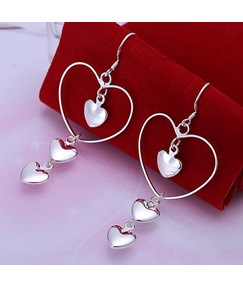 Alloy Silver Heart Earrings