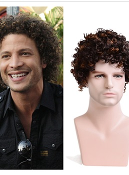 Men's Short Fluffy Afro Wigs Synthetic Capless Wigs Fancy Funny Wigs for Party 10inch