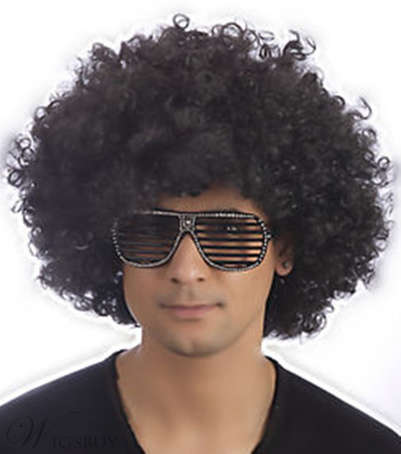 Unisex Men's Short Fluffy Afro Wigs Synthetic Hair Capless Curly Wigs Fancy Funny Wigs 12inch