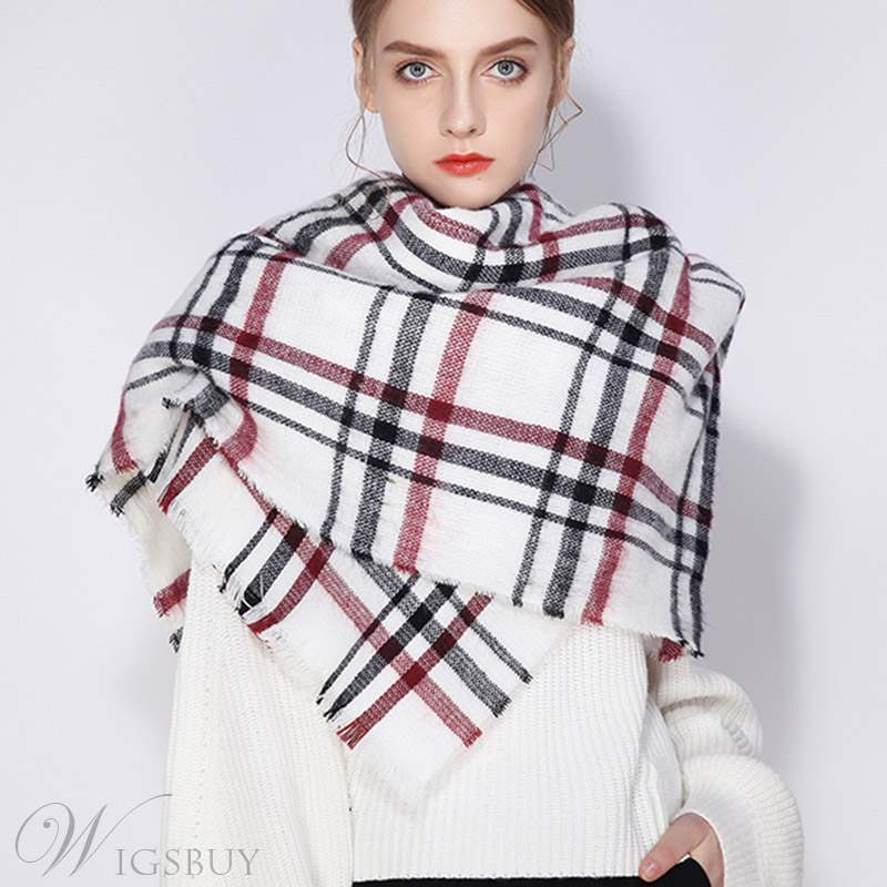 Cashmere Line Grid Scarf