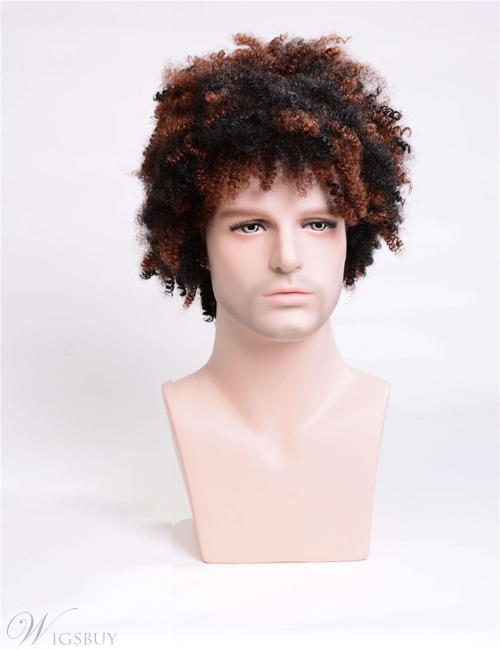Men's Short Afro Curly Synthetic Hair Capless Wigs Black&Brown Mixed Color 12inch
