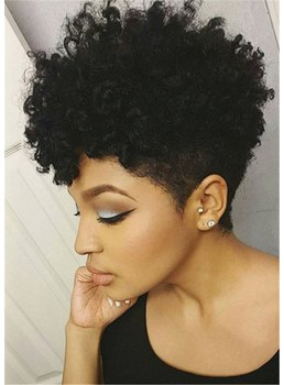 African American Short Afro Curly Human Hair Full Lace Wig 6 Inches