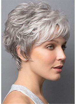 Short Wig With Softly Swept Bangs Synthetic Hair Wig
