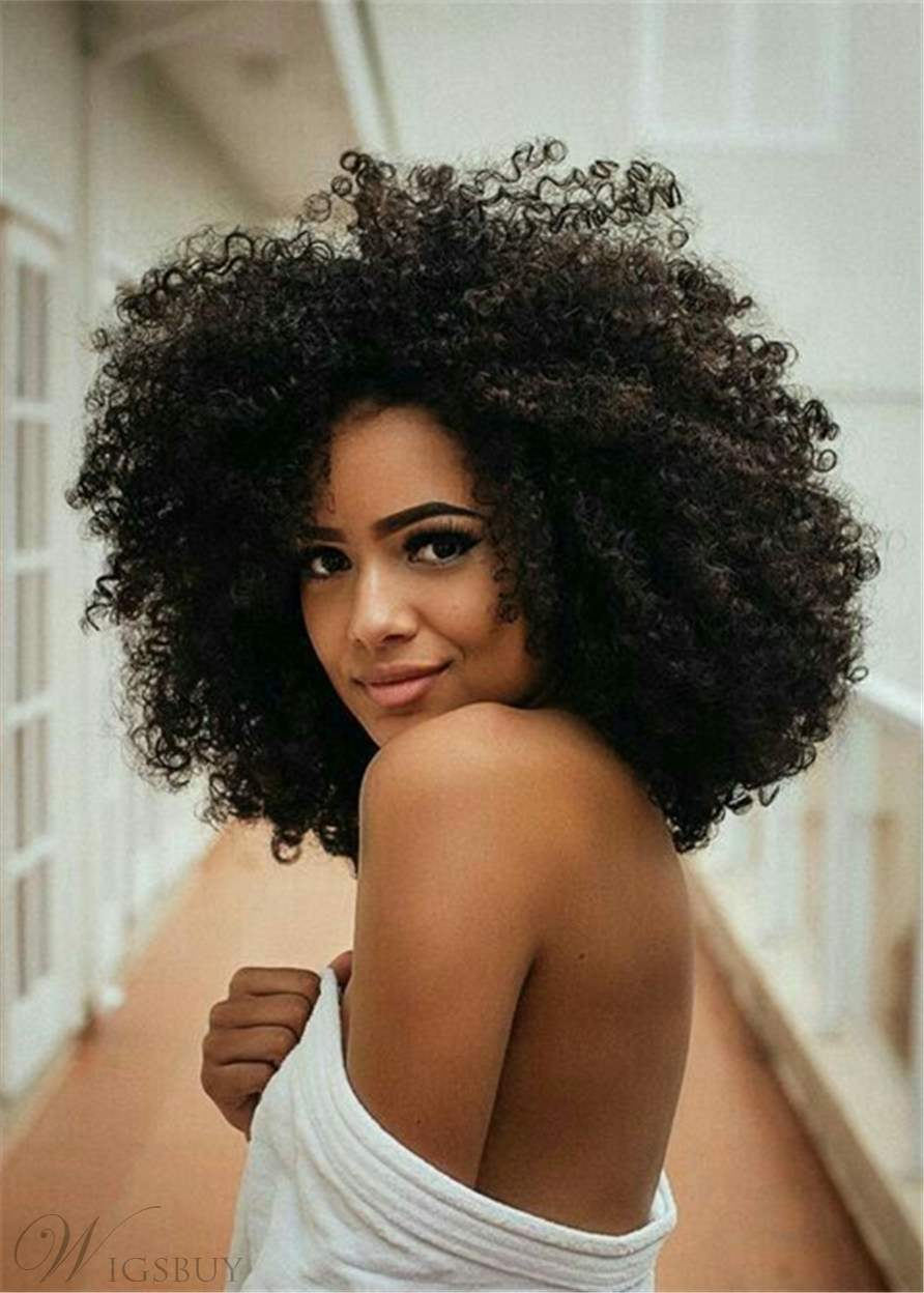 Big Afro Curly Synthetic Hair Capless African American Wig