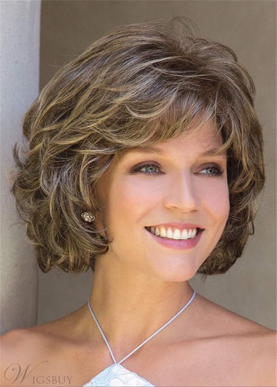 Short Layered Shaggy Hairstyle Bob With Softly Swept Bangs Lace Front Wig