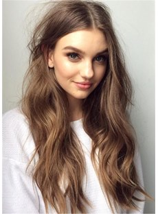 Long Loose Fluffy Human Hair Middle Parted Women Wig