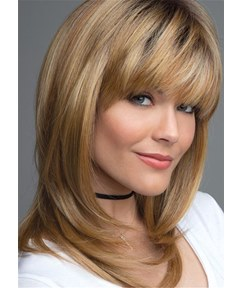 Layered Shag Hairstyle With Bangs Medium Synthetic Capless Wigs