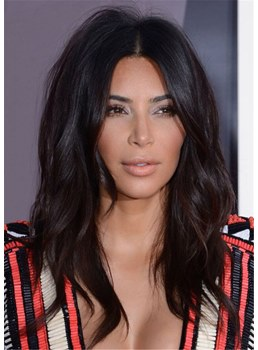 kim kardashian Hairstyle Long Wavy Middle Parted Human Hair Wig