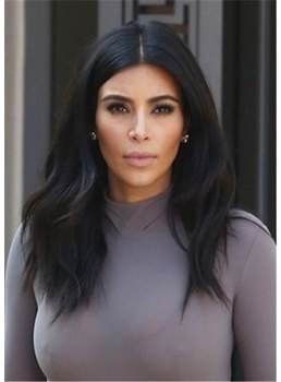 Kim Kardashian Hair Middle Parted Human Hair Natural Straight Women Wig