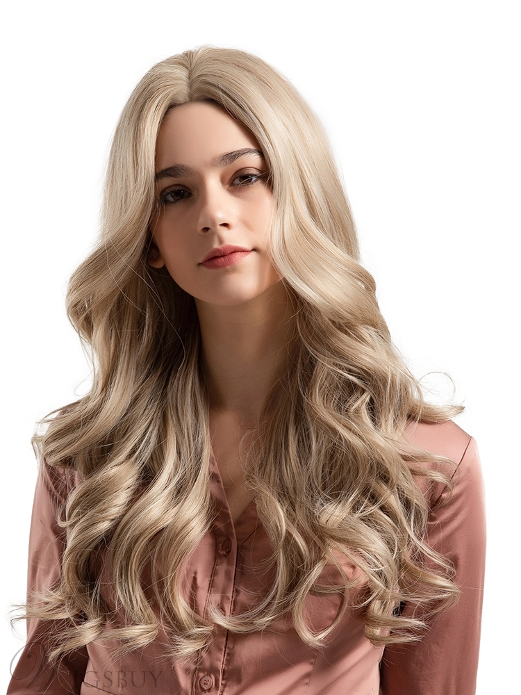 Middle Length Mixed Color Big Curly Synthetic Hair Women Wig