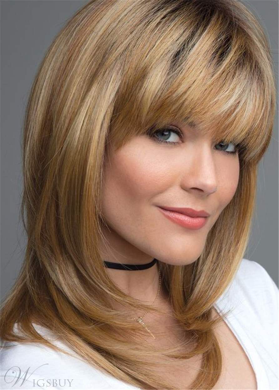 Layered Shag Hairstyle With Bangs Medium Synthetic Capless ...