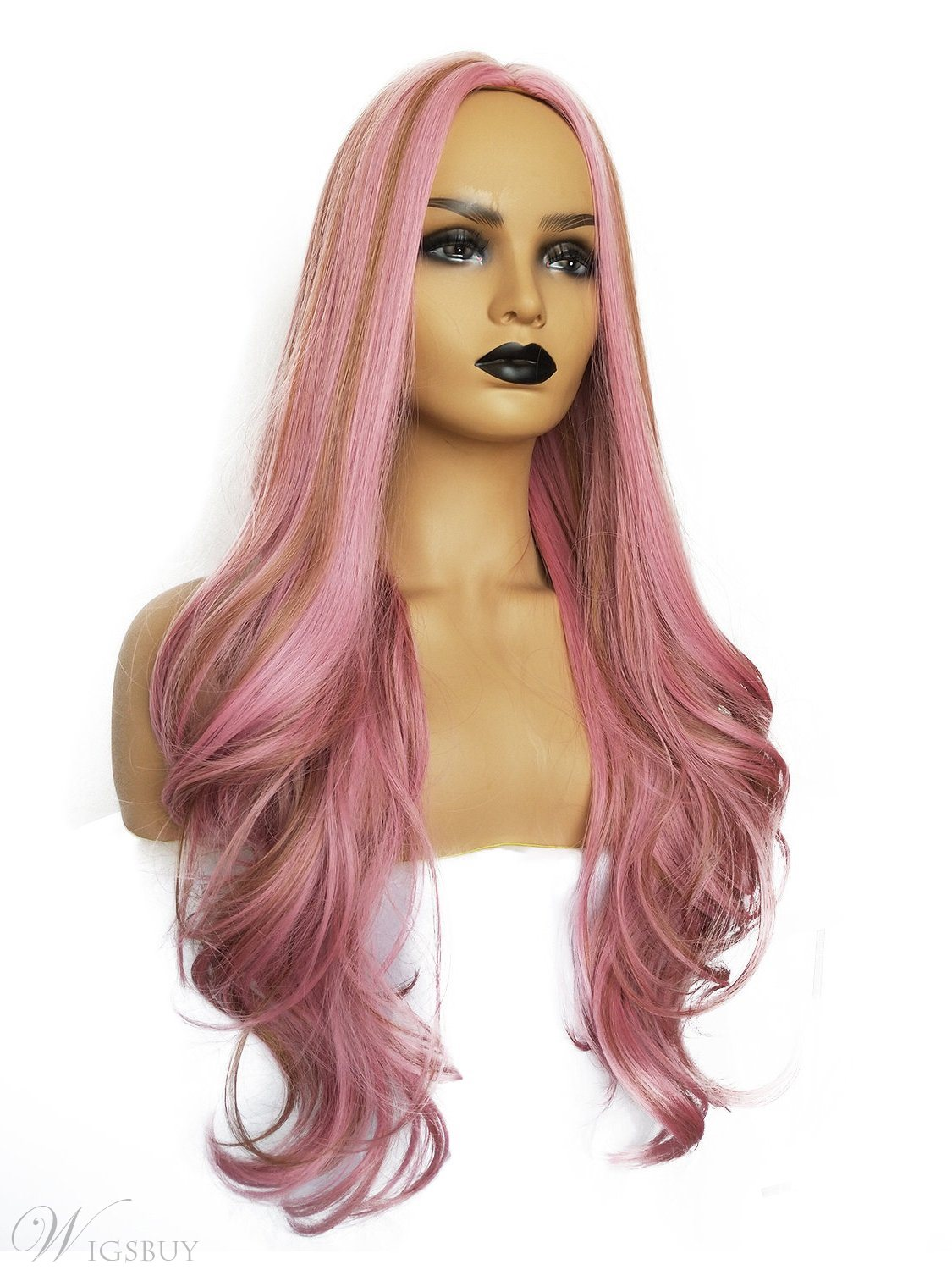 Long Pink Big Curly Synthetic Hair Women Wig 26 Inches