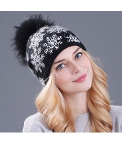 Winter Warm Snow Ball Plush Hat For Women