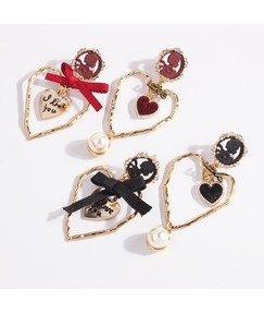 Heart Cut Bowknot Earrings