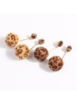Leopard Print Fashion Ball Earrings