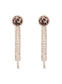 Leopard Print Rhinestone Fashion Earrings