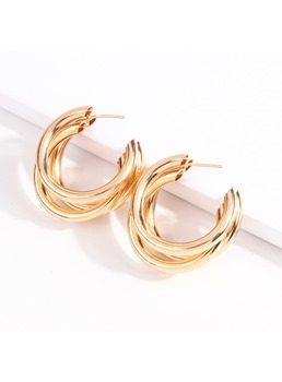 Alloy Fashion Hoops Earrings