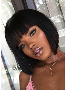 African American Women Short Straight Hait With Full-Bang Capless Synthetic Wig